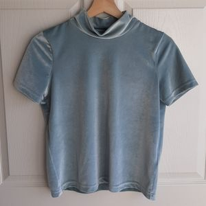 Madewell Blue Velvet Mock Neck Blouse Top Size XS